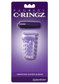 Fantasy C-Ringz Vibrating Super Sleeve Textured Cock Sleeve Showerproof Purple
