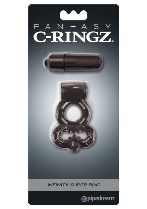 Fantasy C-Ringz Vibrating Infinity Super Ring Textured Cockring Waterproof Black