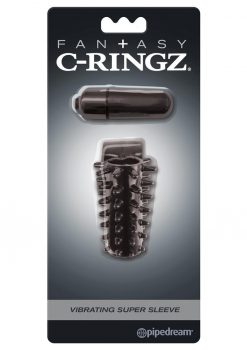 Fantasy C-Ringz Vibrating Super Sleeve Textured Cock Sleeve Showerproof Black