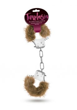Temptasia Plush Fur Cuffs Adjustable Furry Hand Cuffs Stainless Steel With Keys Brown