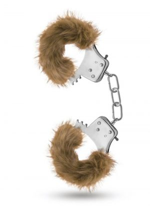 Temptasia Plush Fur Cuffs Adjustable Furry Hand Cuffs Stainless Steel With Keys Brown