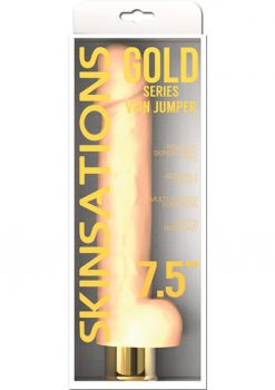 Skinsations Gold Vein Jumper Realistic Bendable Vibrating Dildo With Balls Water Resistant Flesh 7.5 Inch