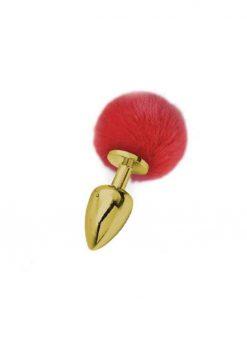 Flora Medium Gold Plug with Red Pom Pom