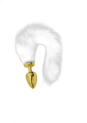 Artemis Large Gold Plated Plug With Long Tail White