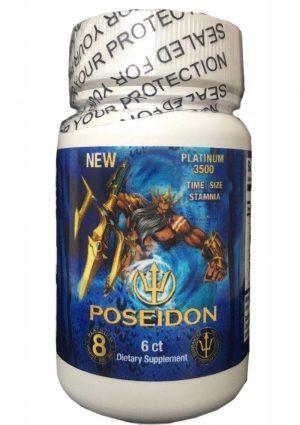 Poseidon Platinum 3500 Blue Male Stamina Supplement 6 Pills Per Bottle