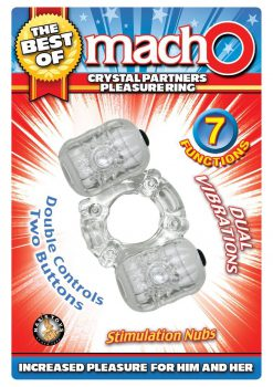 The Best Of Macho Crystal Partners Dual Vibe Pleasure Ring Waterproof Clear