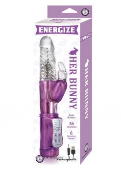 Energize Her Bunny 01 Dual Motor Rotating Rabbit USB Rechargeable Vibe Waterproof Purple 9 inch