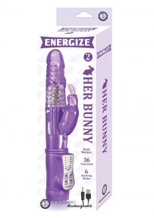 Energize Her Bunny 2 Vibe Waterproof Purple 9 Inch