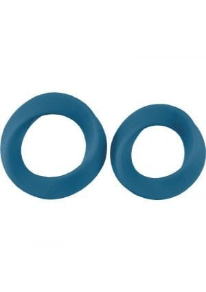 Mjuze Infinity Silicone Cock Ring Set Waterproof Blue 2 Each Pack Large and Extra Large