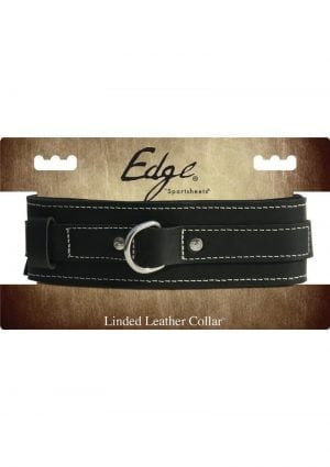 Edged Lined Leather Collar Adjustable Black