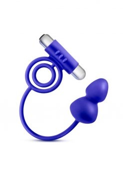 Performance Penetrator Silicone Anal Plug With Vibrating Cock Rings Waterproof Indigo 11.5 Inch