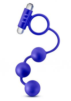 Performance Penetrator Silicone Anal Beads With Cock Ring Waterproof Blue 13 Inch