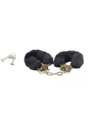 Play With Me Play Time Cuffs Adjustable Faux Fur Black