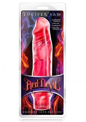 Red Devil Lucifer Sam Vibrating Jelly Dildo Waterproof Cherry Red 9 Inch