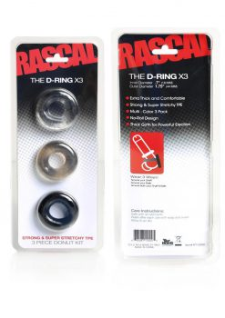 Rascal The D-Ring X3 Cockrings Assorted Colors 3 Each Per Set