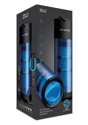 Zolo Blowpro Auto Stroking Realistic Blowjob Stimulator Wired Remote Control Textured Masturbator