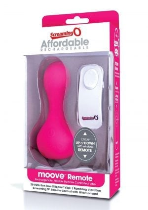 Moove USB Rechargeable Wireless Remote Control Silicone Vibrator Waterproof Pink
