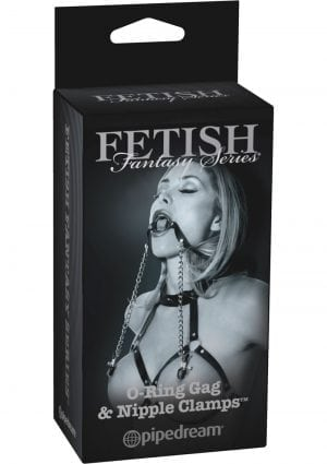 Fetish Fantasy Series Limited Edition O-Ring Gag and Nipple Clamps Black