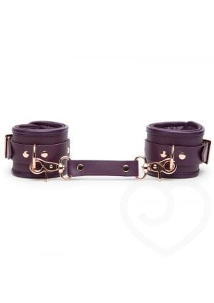 Fifty Shades Freed Cherished Collection Leather Wrist Cuffs Purple With Gold Color Chain